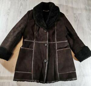 VINTAGE WOMENS LADIES ANTARTEX BROWN BLACK WOOL LINED TRIM SHEEPSKIN COAT UK 14