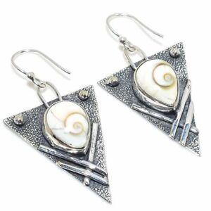 "Shiva Eye Shell Gemstone Handmade 925 Silver Jewelry Earring 1.77"""
