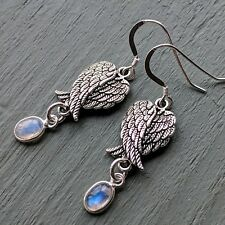 Angel wings & rainbow moonstone earrings with 925 Sterling Silver Stamped hooks