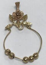 Vintage 14K Two Tone Gold Rose Charm Holder Pendant UNIQUE!