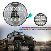 Dot Approved 7'' Round LED phare Feux avant Hi-Lo Beam pour Jeep Wrangler JK TJ