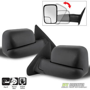 Left+Right 02-08 Dodge RAM 1500/03-09 2500 3500 Tow Extend FlipUp MANUAL Mirrors