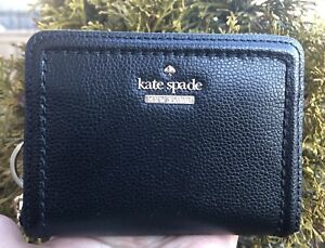 Kate Spade Dani Patterson Drive Black Leather Zip Around Wallet + Key FOB New