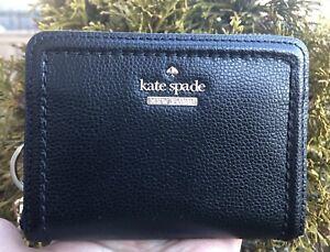 Kate Spade Dani Patterson Drive Black Leather Zip Around Wallet + Key FOB New