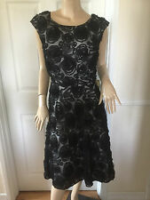 CC COUNTY CASUALS STUNNING BLACK RUFFLED LACE OCCASION DRESS SZ 16 NWT