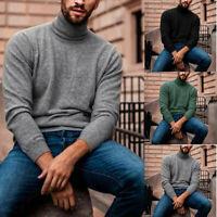 US Warm Tops Men's Winter Pullover Turtleneck High Neck Jumper Sweater