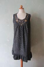 YUMI   Kleid Minikleid grau  Pailletten toller Ausschnitt Gr.  38 M / 40 L (90)