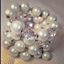 Vintage Wrap Cuff Bracelet Sim Pearls AB Glass Beads