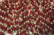 Jewel Christmas Tree Glass Bead Garland 5 Strands 110� Each Pink And Silver