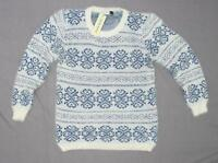 nWT Jon and Anna Women's Junior Fit Feather Patterned Sweater White / Blue Small