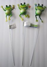 "Garden Collection 3 Adorable 24""Metal Frog Garden Stakes W/Butterfly Flower New!"