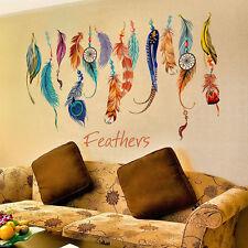 Multicolor Lucky Plumas Adhesivo Pared Arte Mural Pegatina Vinilo Sofá Hogar