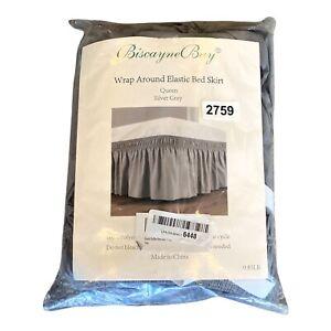Biscayne Bay Wrap Around Elastic Silver Gray Bed Skirt Queen Open Bag
