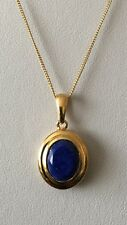 "Sterling Silver 14K Gold Plated Lapis Lazuli (3.00Ct) Pendant With 18"" Chain"