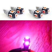4x Pink T10 Wedge Gauge Cluster Instrumental Speedometer LED Light Bulb