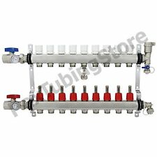 "9-Branch PEX Radiant Floor Heating Manifold Set - Stainless Steel, for 1/2"" PEX"