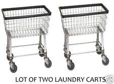 2 Economy Laundry Cart  2.5 Bushel with Wheels & Basket