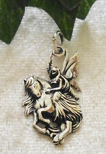 Zauberhafte Elfe auf Einhorn Anhänger Silber Elf Fee unicorn with fairy pendant