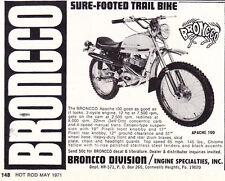 1971 BRONCO APACHE 100 MOTORCYCLE  ~  CLASSIC SMALLER ORIGINAL PRINT AD