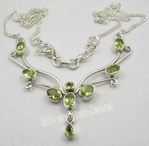 """925 Sterling Silver CUT PERIDOT BESTSELLER Large Chain Necklace 17 3/4"""""""