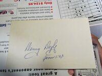 Denny Doyle autographed index card