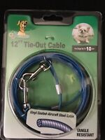 Small Dog Tie Out Vinyl Coated Twin Swivel Outdoor Cable Restraint Holds 10lbs