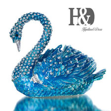 Handmade Blue Crystal Metal Swan Trinket Box Figurines Jewelry Collectible Gift