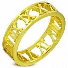 6mm Anillo A Números De Números Romanos de Acero Inoxidable Chapado Oro
