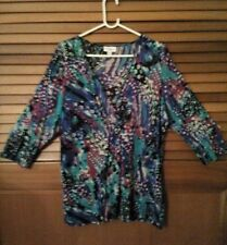 Plus Size 22 woman's psychedelic multicoloured V neck long sleeve top blouse