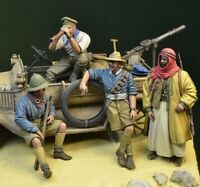 █ 1/35 Resin WWI ANZAC Desert 4 soldiers W/Goods on the Car (No Car) BL575