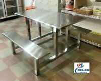 NEW Stainless Steel Picnic Style Table w/ Bench Chair Seats Outdoor Restaurant