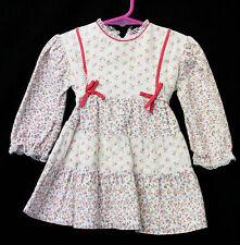 Girls Sz 2 Lightweight Flannel Long Sleeve Winter Floral Dress Vintage Clothing