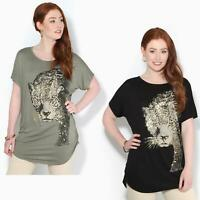 Womens Loose Batwing T Shirt Ladies Animal Tunic Blouse Oversized Long Line Top
