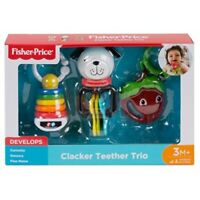 Fisher Price Clacker Teether Rattle Trio Set Baby Activity Skill Development Toy