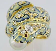 Vintage 18k Yellow Gold Akoya Pearl 7.4 mm & 0.95 ct Diamond Fashion Snake Ring