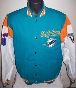 MIAMI DOLPHINS 2 Time Super Bowl CHAMPIONSHIP Jacket Sewn Logos LARGE