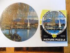 "Vintage Tuco Round Interlocking Puzzle Swiss Lake Scene 15"" Diameter"