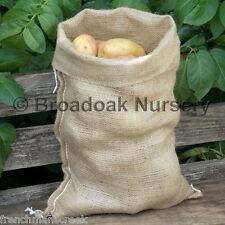 JUTE HESSIAN SACKS 5kg EASY CARRY 30 x 45cm Potato Vegetable Storage FROM £2.20