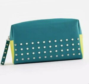 IPSY ~ Glam Bag Ultimate New ~ Studded Green With Yellow Interior MakeUp