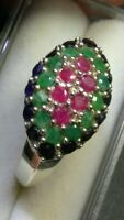 NATURAL RUBY, SAPPHIRE AND EMERALD IN STERLING SILVER.925 RING SIZE 8.0-8.25!