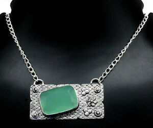"Handmade 925 Sterling Silver Chalcedony Gemstone Jewelry Necklace Size-17-18"""