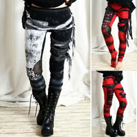 ❤️ Womens High Wasited Punk Rave Gothic Leggings Pants Skinny Steampunk Trousers