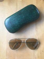 Retro 1970s Aviator Amber Sunglasses - with Green Alligatorette Case