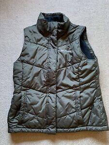 Womens COLUMBIA dark GREEN Puffy Vest FLEECE lining- M