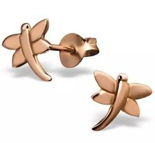 Pink Rose Gold Dipped 925 Sterling Silver Dragonfly Ear Stud Earrings 9x8mm