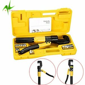 10 Ton Hydraulic Crimper Crimping Tool/w 8 Dies Wire Battery Cable Lug Termina