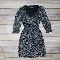 Zara Basic Collection Dress Size S Animal Print Sheer Arms Long Sleeve Lined