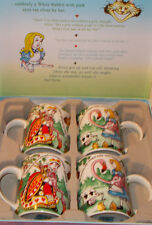Alice in Wonderland Cafe'  Set of 4 Coffee Cups in Storage Box  NWT Cardewdesign