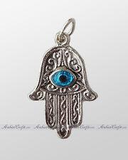 "Hand of Fatima/ Miriam/ Mary Good Luck Amulet 1"" Alpaca Silver Necklace Pendant"
