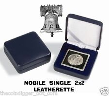 Lighthouse NOBILE Q50 Single Coin Display Presentation Box BLACK Leather For 2x2
